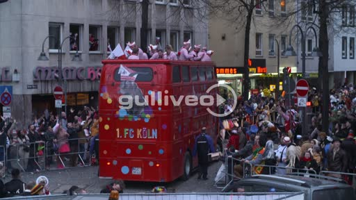 Footage of the Team from 1. FC Köln/Cologne taking part on the Carnvial in Cologne